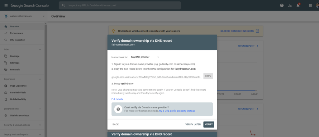 Copying Google Search Console's verification code to add to domain's DNS.