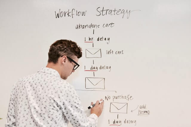 Guy writing workflow strategy on white board.